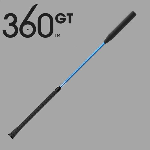 blue riding crop and 360 GT logo on gray background